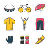 Set of 9 Bicycle Race modern colorful icons Royalty Free Stock Photography