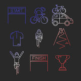 Set of 9 Bicycle Race modern linear icons Stock Images