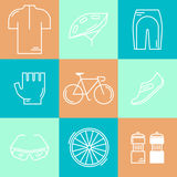 Set of 9 Bicycle Race modern linear icons Stock Photography