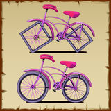 Set of bicycle with round and square wheels Stock Photos