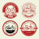 Set bicycle shop emblem with repair service. Vector illustration royalty free illustration
