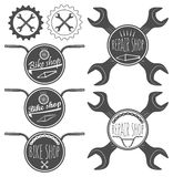 Set of bicycle shop logo badges and labels, bike repair Royalty Free Stock Photography