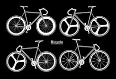 Set bicycle sport black white Royalty Free Stock Photography