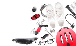Set of bicycle stuff Stock Images