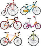 Set of bicycles. Clip-art. Set of road and sports bicycles Stock Photo
