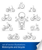 Set of bicycles and motorcycles Stock Images