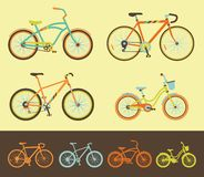 Set of bicycles. Variations of different style bicycles Stock Images