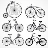 Set of bicycles on a white background Stock Photography