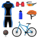 Set of bicycling icons vector illustration  on white background. Royalty Free Stock Images