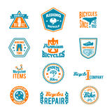 Set of bicycling label. Set of bike helmet sport equipment color label isolated on white vector illustration Stock Images