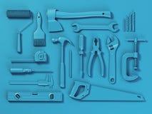 Set biel narzędzia odizolowywający na białym tle Egzamin próbny Up dowcip Zdjęcia Stock