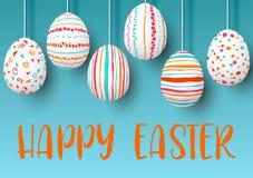 Set biel podczas Easter jajek z różnymi menchiami, pomarańcze, czerwień, lampasy, deseniuje punkty, confetti, fala, zawijasy na b Fotografia Stock