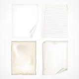 Set bielu prześcieradła papiery Zdjęcia Royalty Free