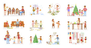 Set of big Family portrait. Royalty Free Stock Image