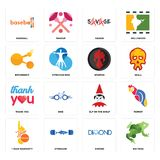 Set of big frog, dimond, 1 year warranty, elf on the shelf, thank you, spartan, bitconnect, savage, baseball icons. Set Of 16 simple  icons such as big frog Stock Images