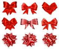 Set of big red bows Royalty Free Stock Photos