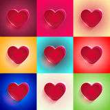 Set Big Red Heart Stock Image