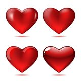 Set of Big Red Hearts Royalty Free Stock Photos