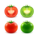 Set of Big Ripe Red Green Fresh Cut Whole Tomatoes Stock Photos