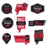 Set of Big Sale Discount Black Friday Banners, Labels, Badges. Promotion Marketing. Stock Images
