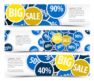 Set of big sale horizontal banners. With place for your text Stock Images