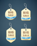 Set of big sale paper labels with blue ribbon Royalty Free Stock Images