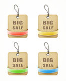 Set of big sale paper labels with colorful ribbons Stock Image