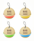 Set of big sale paper labels with colorful ribbons Stock Images