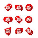Set big sale red. Set of design elements for big sale, red, vector Stock Photo