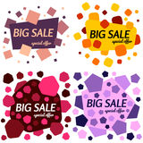 Set of big sale special offer square banners on white background. Stock Image