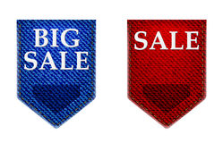 Set of Big sale , stickers, labels, tags .jeans label Royalty Free Stock Photo
