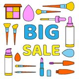 Set with Big Sale text and icons of makeup tools in a flat style royalty free illustration