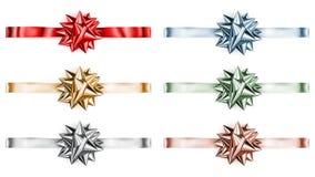 Set of big shiny bows with horizontal ribbons Royalty Free Stock Images