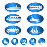 Travel labels, logos and stickers. Set of big and small labels, logos and stickers on travel Stock Photography