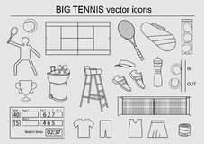 Set of big tennis  icons Stock Photography