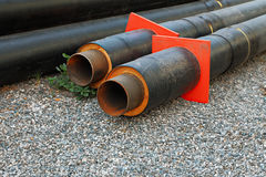 Set of big water pipes used at the building site, ready for mounting Royalty Free Stock Photography
