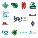 Set of bike chain, SOZ, hurrican, rhino, 100 year anniversary, , gangster, courage, skull and crossbones icons. Set Of 13 simple  icons such as bike chain, SOZ Stock Image