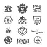 Set of bike monochrome label. Set of bike helmet sport equipment in monochrome style label isolated on white vector illustration Royalty Free Stock Photo