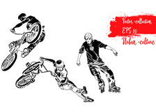 Set of bike rider jumping and roller skater. Representatives of Urban Culture. Extreme theme modern print. Vector design elements. Stock Photos