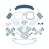 Set of biker label vector elements Stock Images