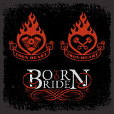 Set of biker labels. Set of labels with burning hearts and lettering text 'Born to Ride' on grunge background for t-shirt print, poster, emblem. Vector Stock Photos