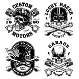 Set of Biker skulls. Motorcycle design templates on white background. Text is on the separate groups Stock Image