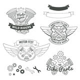 Set of biker vintage labels, oldschool motor logo Royalty Free Stock Photos