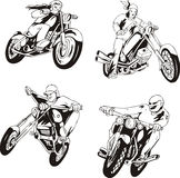 Set of bikers Royalty Free Stock Photos