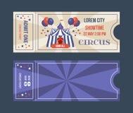 Set bilety dla cyrkowych występów, wydarzenia, przedstawienie występy royalty ilustracja