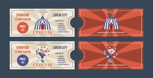 Set bilety dla cyrkowych występów, wydarzenia, przedstawienie występy ilustracji