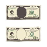 Set of bill one hundred dollars in flat style, isolated on white. Design of 100 dollars. Set of bill one hundred dollars. Template suitable for discount cards stock illustration