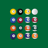 Set billiard balls. A set of billiard ball on a green background. each ball haves a own shadow. EPS file is available Vector Illustration