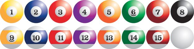 Set of billiard balls. Full set of billiard balls Royalty Free Stock Photos