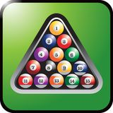 Set of billiard balls. Full set of billiard balls in triangle rack Stock Image